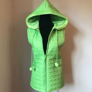 *CYNTHIA ROWLEY* Green Quilted Hooded Vest - Sz M